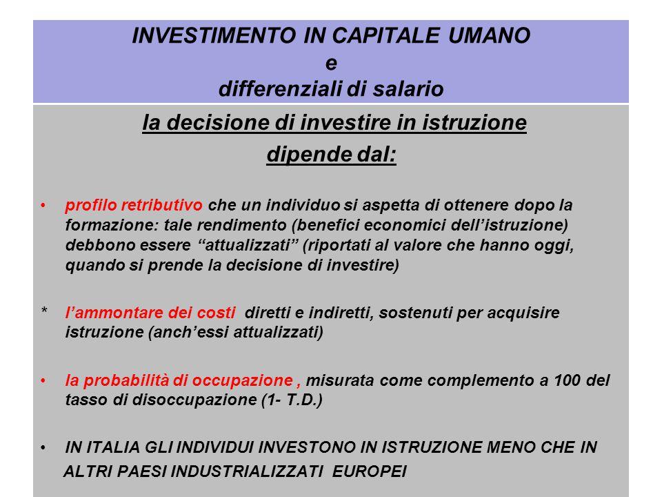 INVESTIMENTO IN CAPITALE UMANO e differenziali di salario la decisione di investire in istruzione dipende dal: profilo retributivo che un individuo si