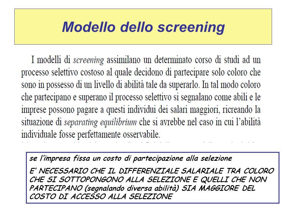 Modello dello screening se l'impresa fissa un costo di partecipazione alla selezione E' NECESSARIO CHE IL DIFFERENZIALE SALARIALE TRA COLORO CHE SI SO