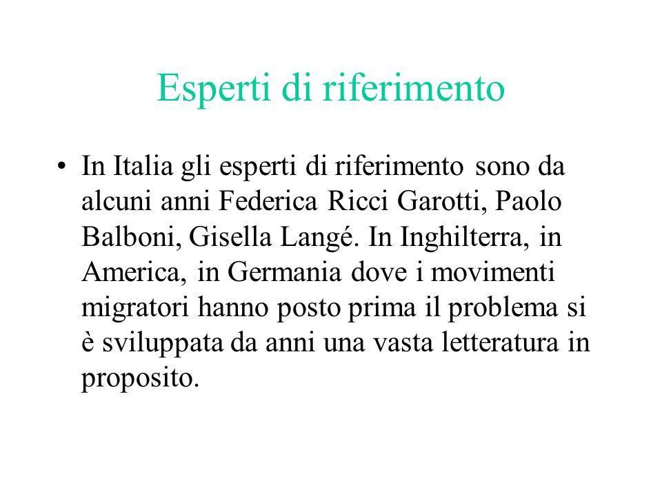Esperti di riferimento In Italia gli esperti di riferimento sono da alcuni anni Federica Ricci Garotti, Paolo Balboni, Gisella Langé.