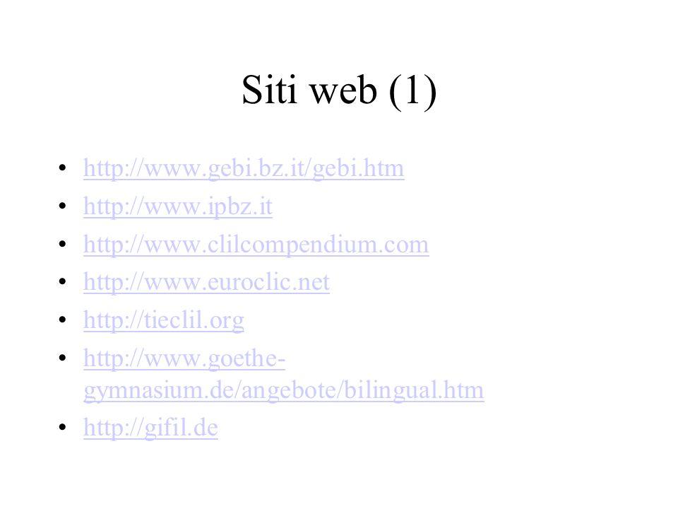 Siti web (1) http://www.gebi.bz.it/gebi.htm http://www.ipbz.it http://www.clilcompendium.com http://www.euroclic.net http://tieclil.org http://www.goethe- gymnasium.de/angebote/bilingual.htmhttp://www.goethe- gymnasium.de/angebote/bilingual.htm http://gifil.de