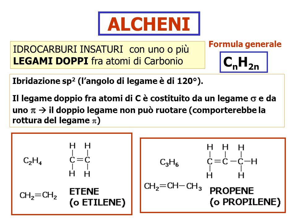 ALCHENI IDROCARBURI INSATURI con uno o più LEGAMI DOPPI fra atomi di Carbonio Ibridazione sp 2 (l'angolo di legame è di 120°).   Il legame doppio fr