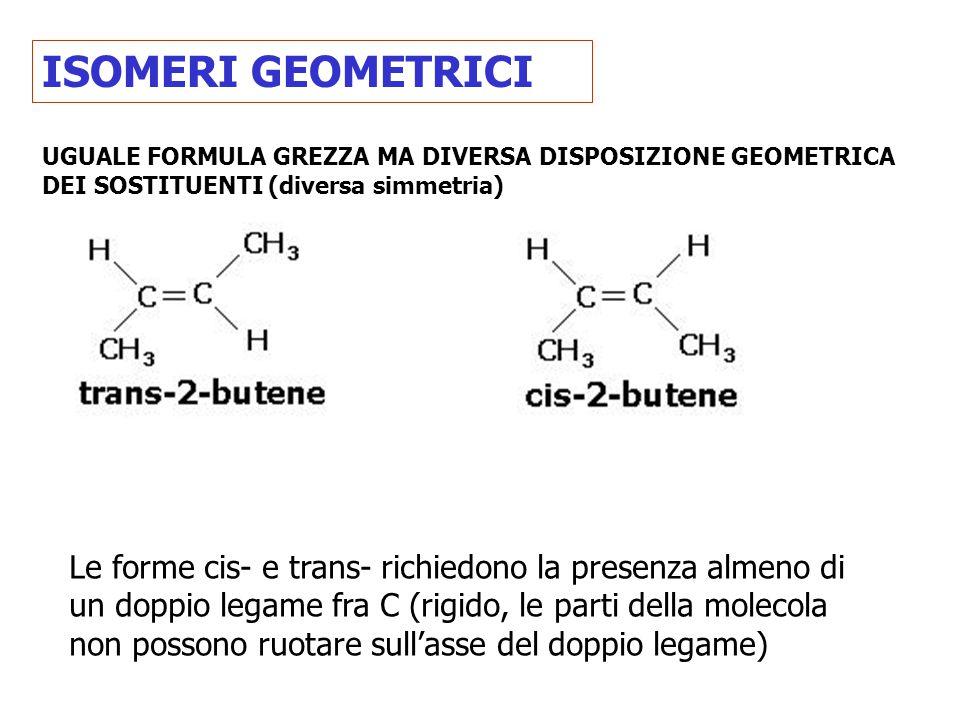 ISOMERI GEOMETRICI UGUALE FORMULA GREZZA MA DIVERSA DISPOSIZIONE GEOMETRICA DEI SOSTITUENTI (diversa simmetria) Le forme cis- e trans- richiedono la p