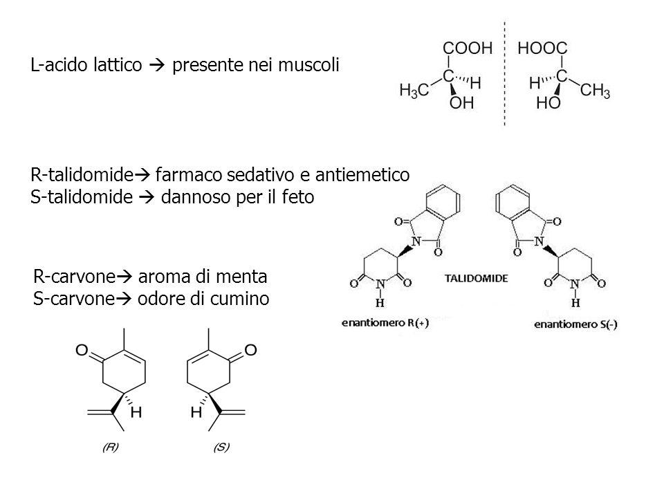R-carvone  aroma di menta S-carvone  odore di cumino L-acido lattico  presente nei muscoli R-talidomide  farmaco sedativo e antiemetico S-talidomi