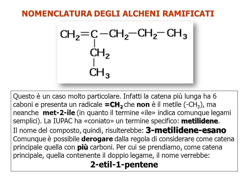 NOMENCLATURA DEGLI ALCHENI RAMIFICATI =CH 2 metilidene Questo è un caso molto particolare. Infatti la catena più lunga ha 6 caboni e presenta un radic