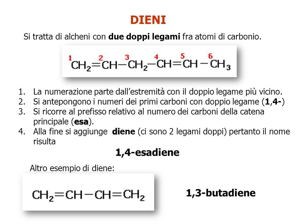 DIENI Si tratta di alcheni con due doppi legami fra atomi di carbonio. 1.La numerazione parte dall'estremità con il doppio legame più vicino. 2.Si ant