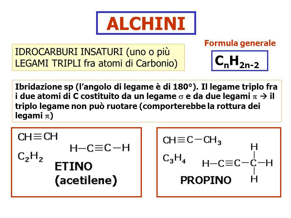 ALCHINI IDROCARBURI INSATURI (uno o più LEGAMI TRIPLI fra atomi di Carbonio) Ibridazione sp (l'angolo di legame è di 180°). Il legame triplo fra i due