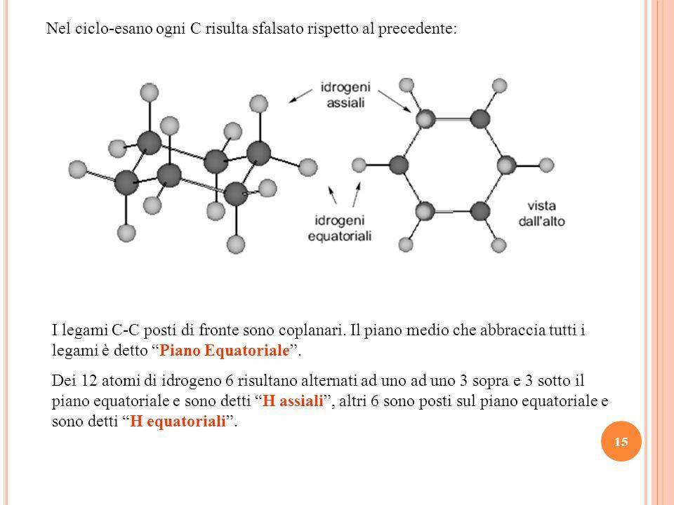 15 I legami C-C posti di fronte sono coplanari.