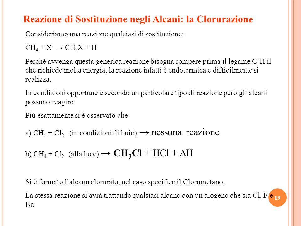 19 Reazione di Sostituzione negli Alcani: la Clorurazione Consideriamo una reazione qualsiasi di sostituzione: CH 4 + X → CH 3 X + H Perché avvenga questa generica reazione bisogna rompere prima il legame C-H il che richiede molta energia, la reazione infatti è endotermica e difficilmente si realizza.