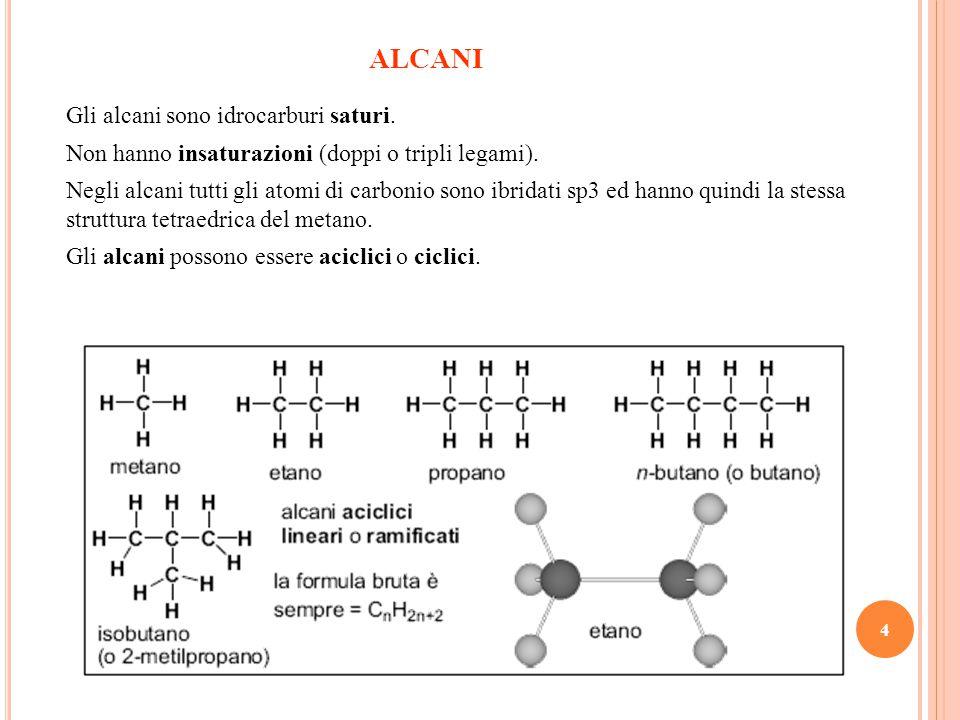 4 ALCANI Gli alcani sono idrocarburi saturi.Non hanno insaturazioni (doppi o tripli legami).