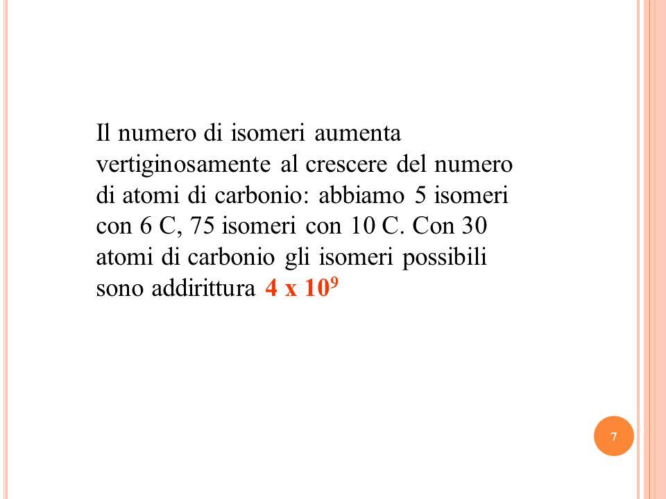 7 Il numero di isomeri aumenta vertiginosamente al crescere del numero di atomi di carbonio: abbiamo 5 isomeri con 6 C, 75 isomeri con 10 C.
