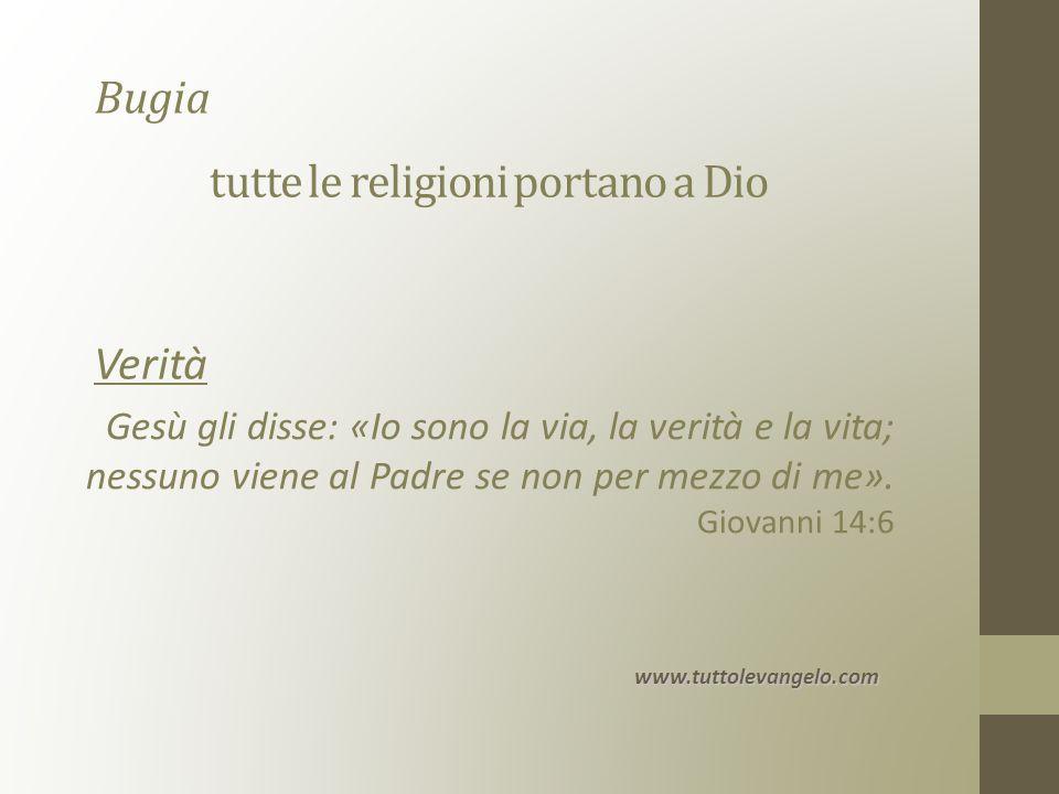 tutte le religioni portano a Dio Gesù gli disse: «Io sono la via, la verità e la vita; nessuno viene al Padre se non per mezzo di me».