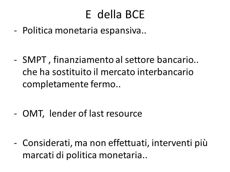 -Politica monetaria espansiva..-SMPT, finanziamento al settore bancario..