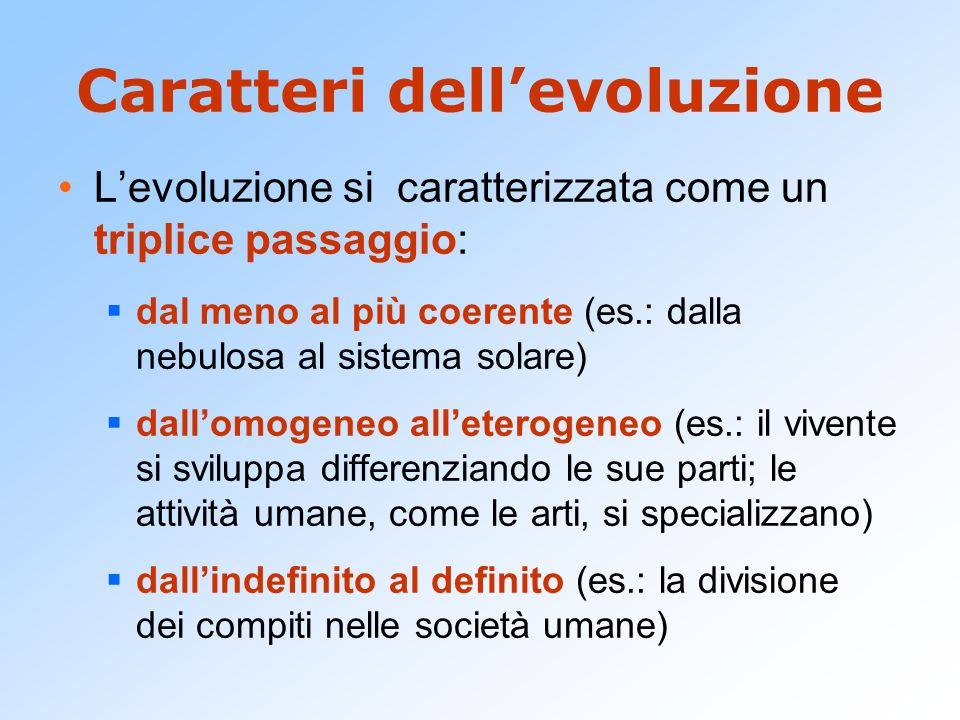 Evolution is an integration of matter and concomitant dissipation of motion ; during which the matter passes from an indefinite, incoherent homogeneity to a definite, coherent heterogeneity ; and during which the retained motion undergoes a parallel transformation.