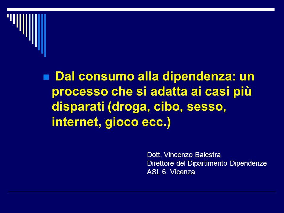 Dal consumo alla dipendenza: un processo che si adatta ai casi più disparati (droga, cibo, sesso, internet, gioco ecc.) Dott. Vincenzo Balestra Dirett