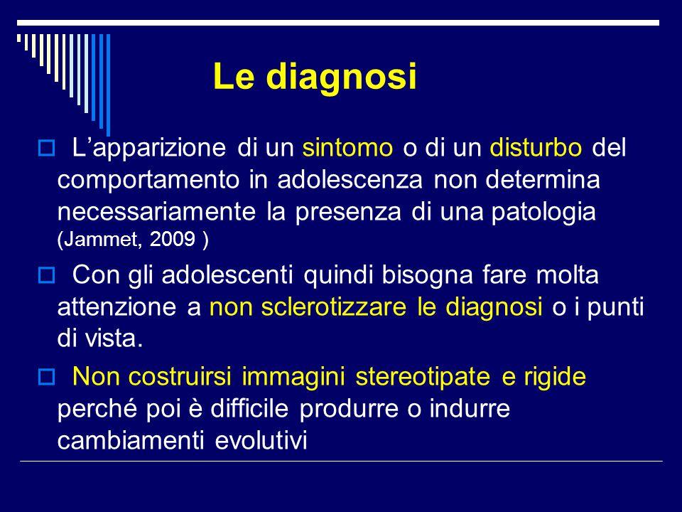 Le diagnosi  L'apparizione di un sintomo o di un disturbo del comportamento in adolescenza non determina necessariamente la presenza di una patologia
