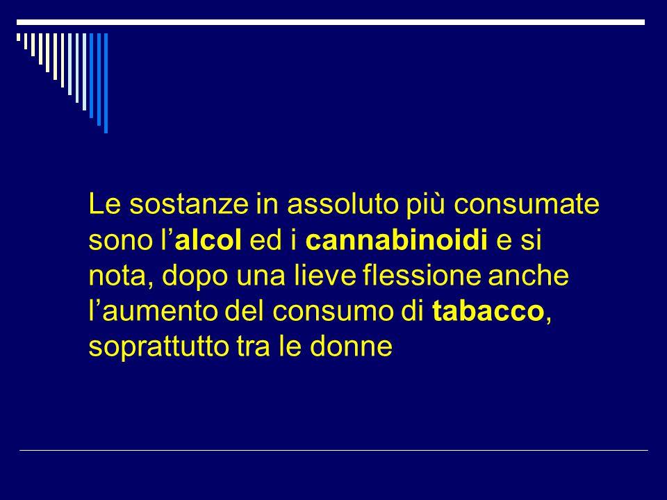 Le sostanze in assoluto più consumate sono l'alcol ed i cannabinoidi e si nota, dopo una lieve flessione anche l'aumento del consumo di tabacco, sopra