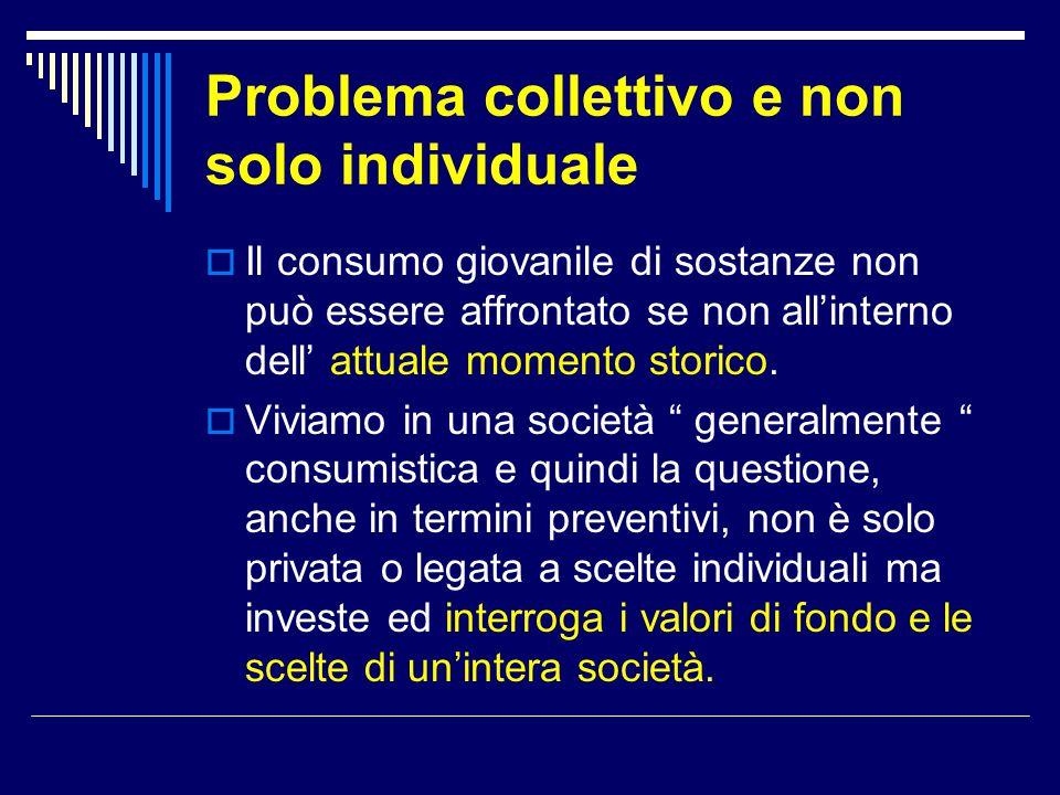 Problema collettivo e non solo individuale  Il consumo giovanile di sostanze non può essere affrontato se non all'interno dell' attuale momento stori