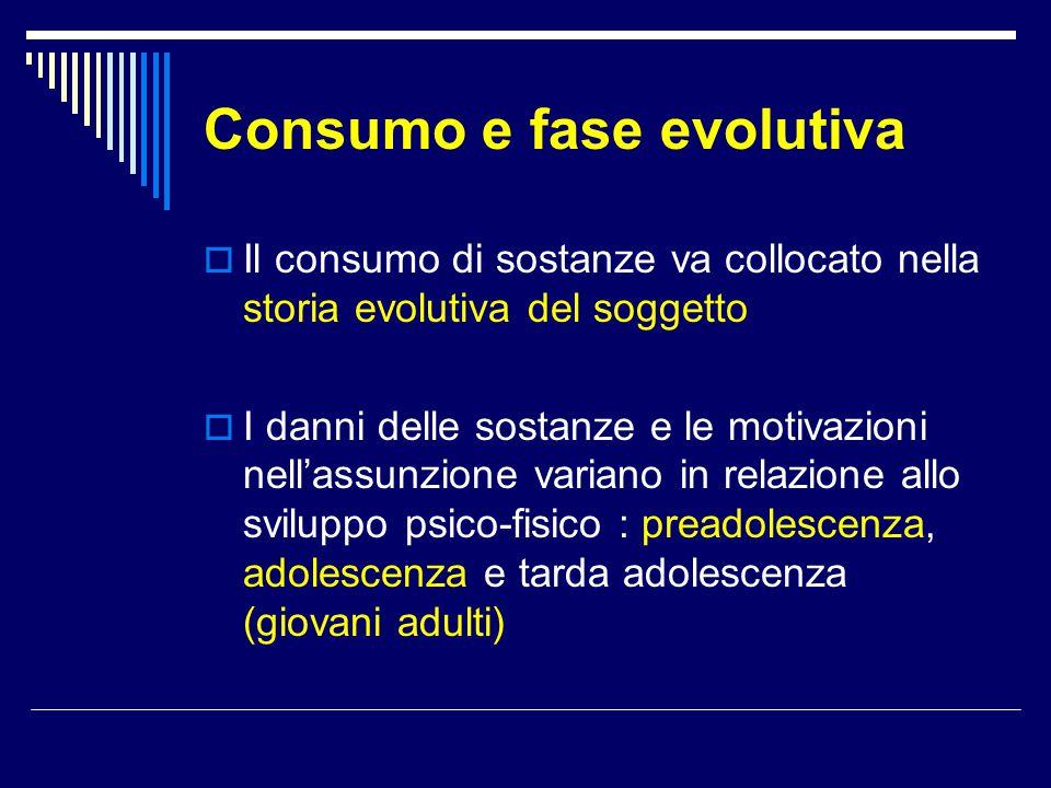 Consumo e fase evolutiva  Il consumo di sostanze va collocato nella storia evolutiva del soggetto  I danni delle sostanze e le motivazioni nell'assu