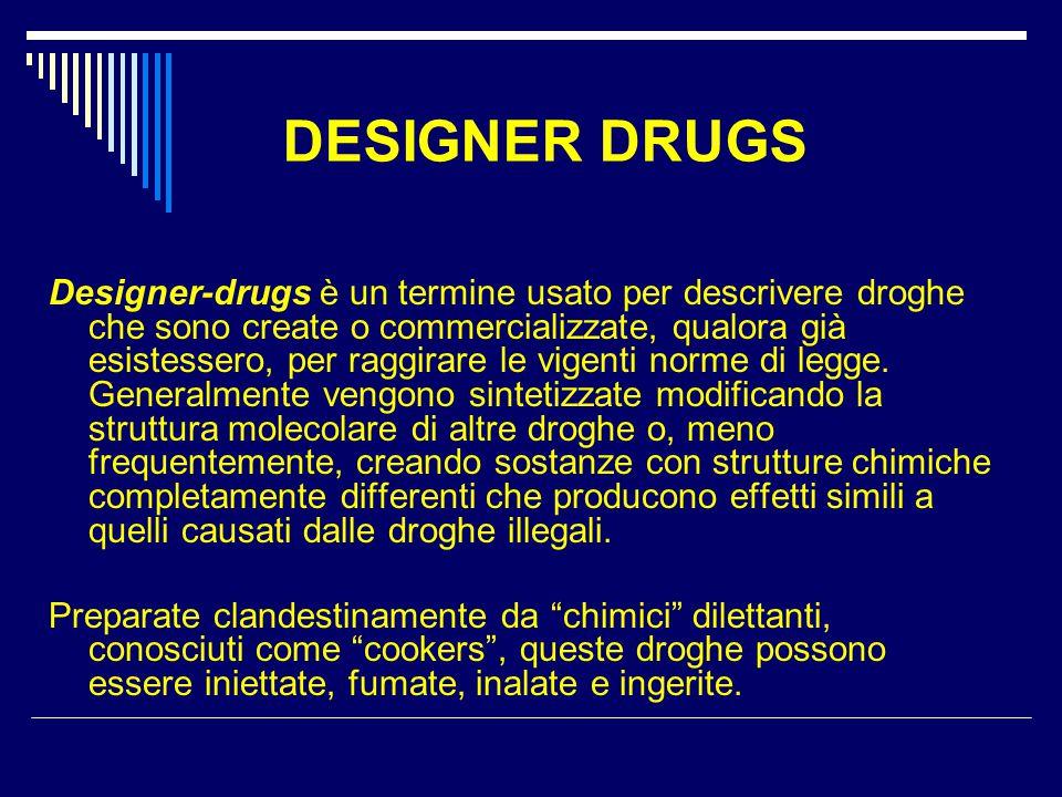 DESIGNER DRUGS Designer-drugs è un termine usato per descrivere droghe che sono create o commercializzate, qualora già esistessero, per raggirare le v