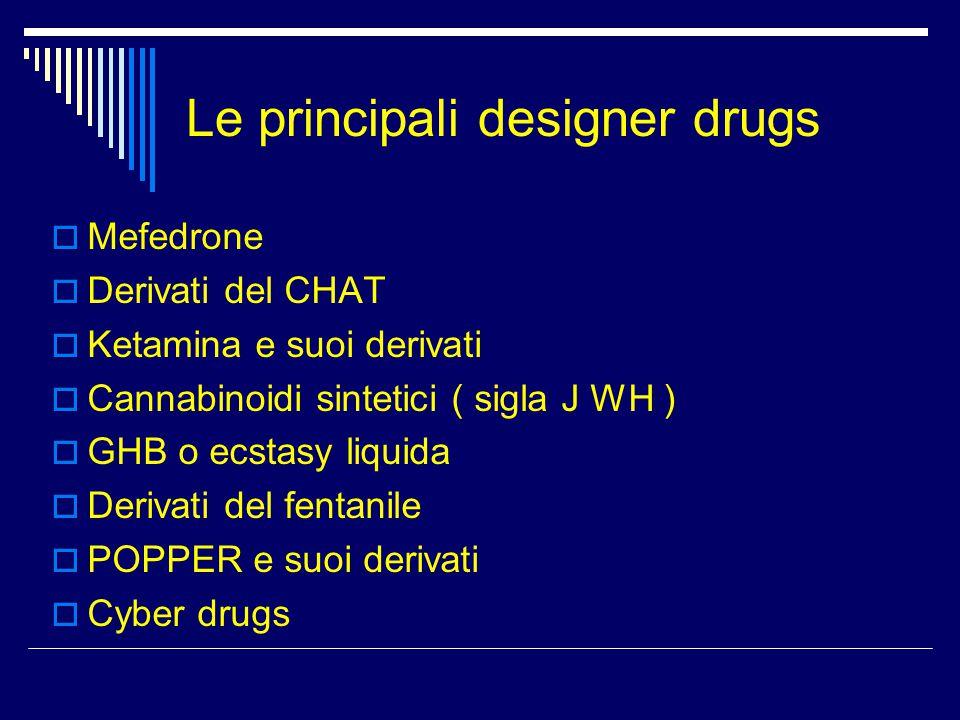 Le principali designer drugs  Mefedrone  Derivati del CHAT  Ketamina e suoi derivati  Cannabinoidi sintetici ( sigla J WH )  GHB o ecstasy liquid