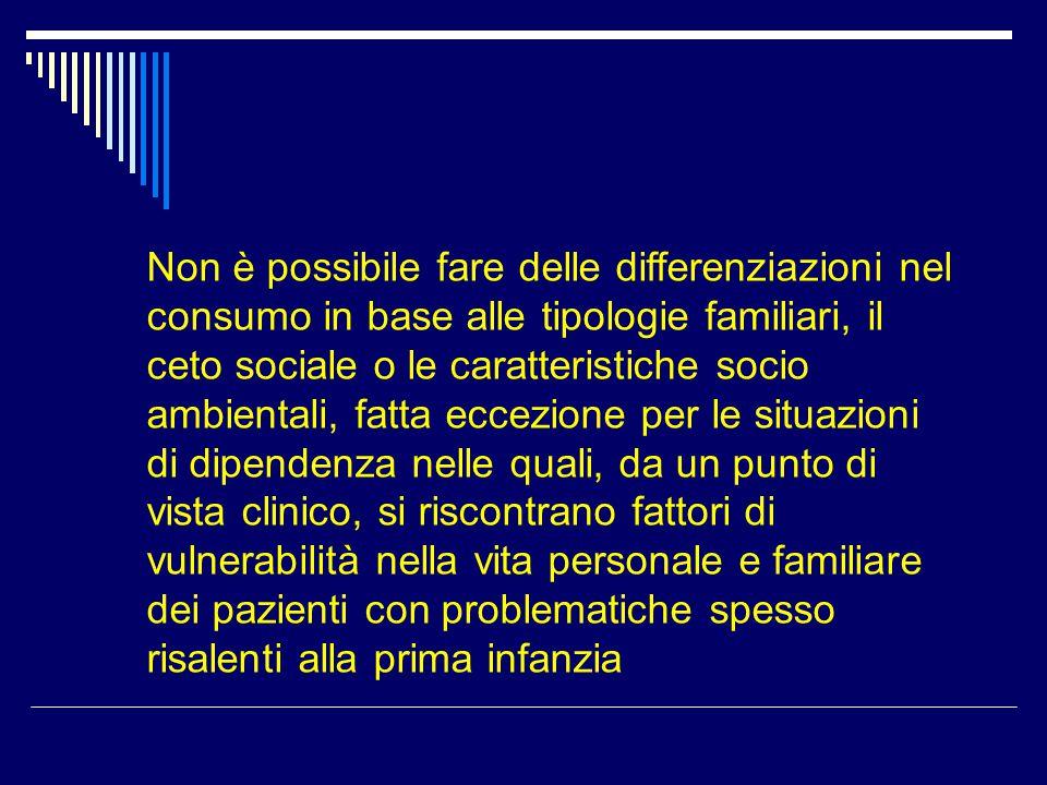 Non è possibile fare delle differenziazioni nel consumo in base alle tipologie familiari, il ceto sociale o le caratteristiche socio ambientali, fatta