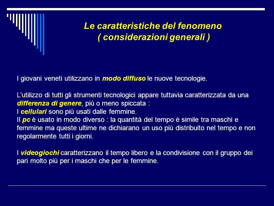 Le caratteristiche del fenomeno ( considerazioni generali ) I giovani veneti utilizzano in modo diffuso le nuove tecnologie. L'utilizzo di tutti gli s
