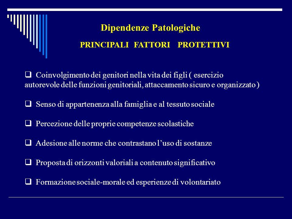 PRINCIPALI FATTORI PROTETTIVI  Coinvolgimento dei genitori nella vita dei figli ( esercizio autorevole delle funzioni genitoriali, attaccamento sicur