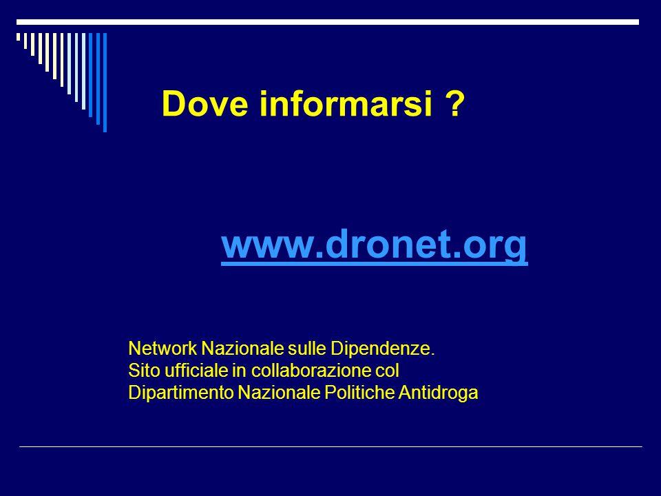 Dove informarsi ? www.dronet.org Network Nazionale sulle Dipendenze. Sito ufficiale in collaborazione col Dipartimento Nazionale Politiche Antidroga