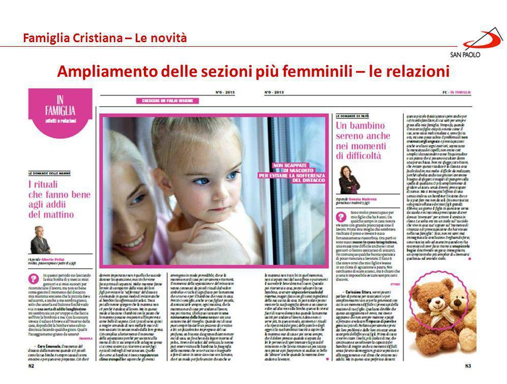 Benessere Gennaio 2013 Ampliamento delle sezioni più femminili – le relazioni Famiglia Cristiana – Le novità