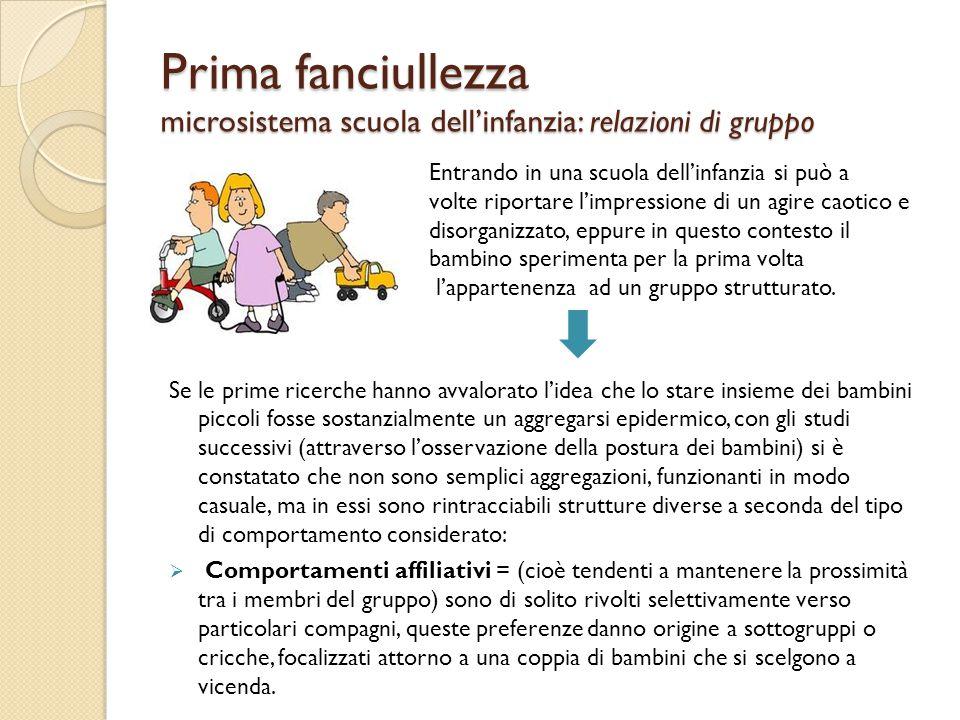 Prima fanciullezza microsistema scuola dell'infanzia: relazioni di gruppo Entrando in una scuola dell'infanzia si può a volte riportare l'impressione