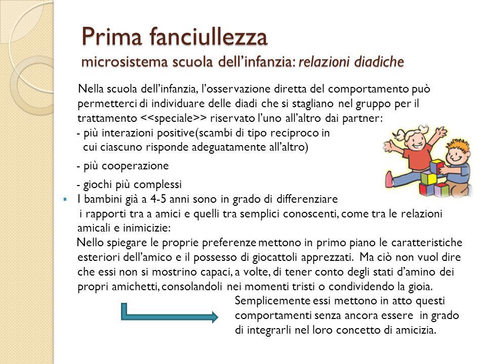 Prima fanciullezza microsistema scuola dell'infanzia: relazioni diadiche Nella scuola dell'infanzia, l'osservazione diretta del comportamento può perm