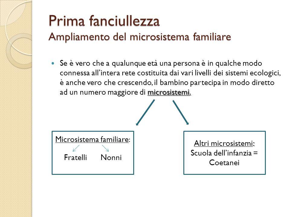 Prima fanciullezza Ampliamento del microsistema familiare microsistemi Se è vero che a qualunque età una persona è in qualche modo connessa all'intera