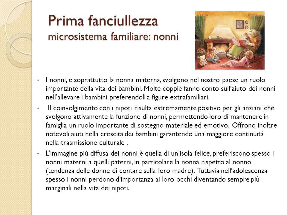Prima fanciullezza microsistema familiare: nonni I nonni, e soprattutto la nonna materna, svolgono nel nostro paese un ruolo importante della vita dei
