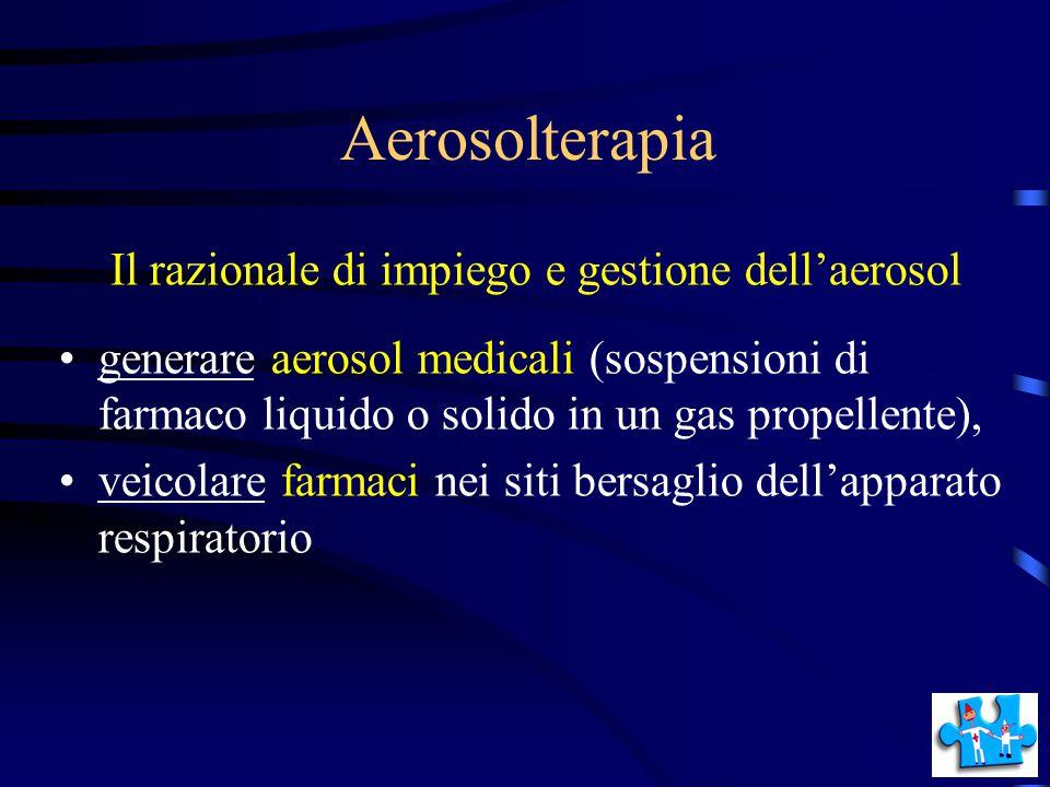 Aerosolterapia Il razionale di impiego e gestione dell'aerosol generare aerosol medicali (sospensioni di farmaco liquido o solido in un gas propellent