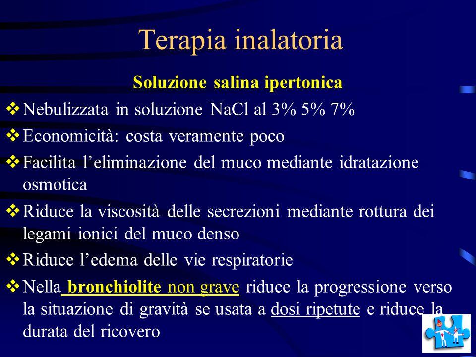 Terapia inalatoria Soluzione salina ipertonica  Nebulizzata in soluzione NaCl al 3% 5% 7%  Economicità: costa veramente poco  Facilita l'eliminazio