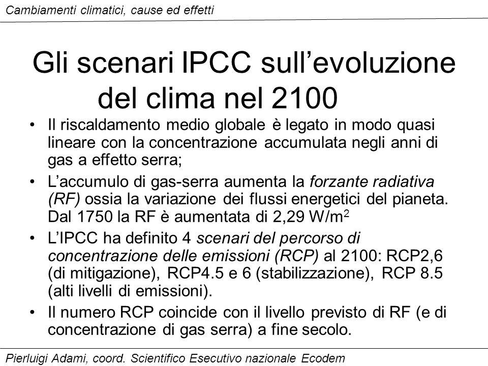 Gli scenari IPCC sull'evoluzione del clima nel 2100 Il riscaldamento medio globale è legato in modo quasi lineare con la concentrazione accumulata neg