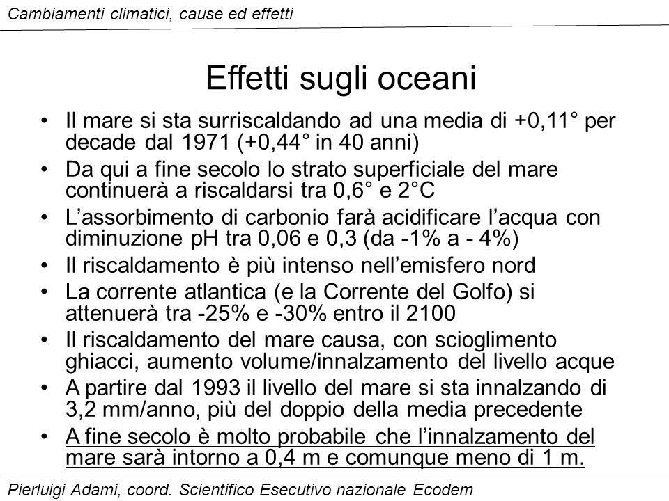 Effetti sugli oceani Il mare si sta surriscaldando ad una media di +0,11° per decade dal 1971 (+0,44° in 40 anni) Da qui a fine secolo lo strato super