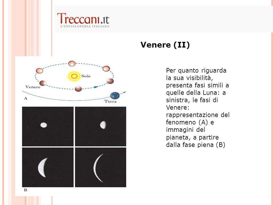 Per quanto riguarda la sua visibilità, presenta fasi simili a quelle della Luna: a sinistra, le fasi di Venere: rappresentazione del fenomeno (A) e immagini del pianeta, a partire dalla fase piena (B) Venere (II)