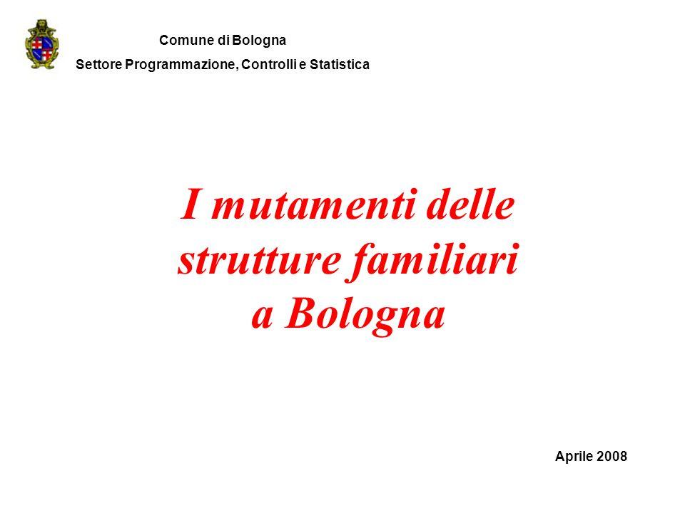I mutamenti delle strutture familiari a Bologna Aprile 2008 Comune di Bologna Settore Programmazione, Controlli e Statistica