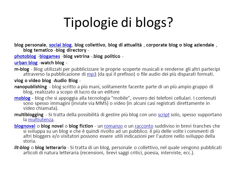 Tipologie di blogs.
