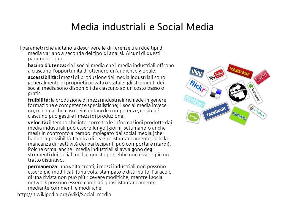 Esempi di social media http://en.wikipedia.org/wiki/Social_media#Examples Communication Blogs: Blogger, LiveJournal, Open Diary, TypePad, WordPress, Vox, ExpressionEngine, Xanga BlogsBloggerLiveJournalOpen DiaryTypePad WordPressVoxExpressionEngineXanga Micro-blogging / Presence applications: FMyLife, Jaiku, Plurk, Twitter, Tumblr, Posterous, Yammer, Qaiku Micro-bloggingFMyLifeJaiku PlurkTwitterTumblrPosterousYammerQaiku Social networking: Facebook, Geni.com, Hi5, LinkedIn, MySpace, Ning, Orkut, Skyrock, Qzone, Vkontakte, RenRen, Kaixin, ASmallWorld, studivz, Xing, RunAlong.se, Bebo, BigTent, Elgg, Hyves, Flirtomatic Social networkingFacebookGeni.comHi5LinkedIn MySpaceNingOrkutSkyrockQzoneVkontakteRenRen KaixinASmallWorldstudivzXingRunAlong.seBebo BigTentElggHyvesFlirtomatic Social network aggregation: NutshellMail, FriendFeed, Social network aggregationNutshellMailFriendFeed Events: Upcoming, Eventful, Meetup.comUpcomingEventfulMeetup.com