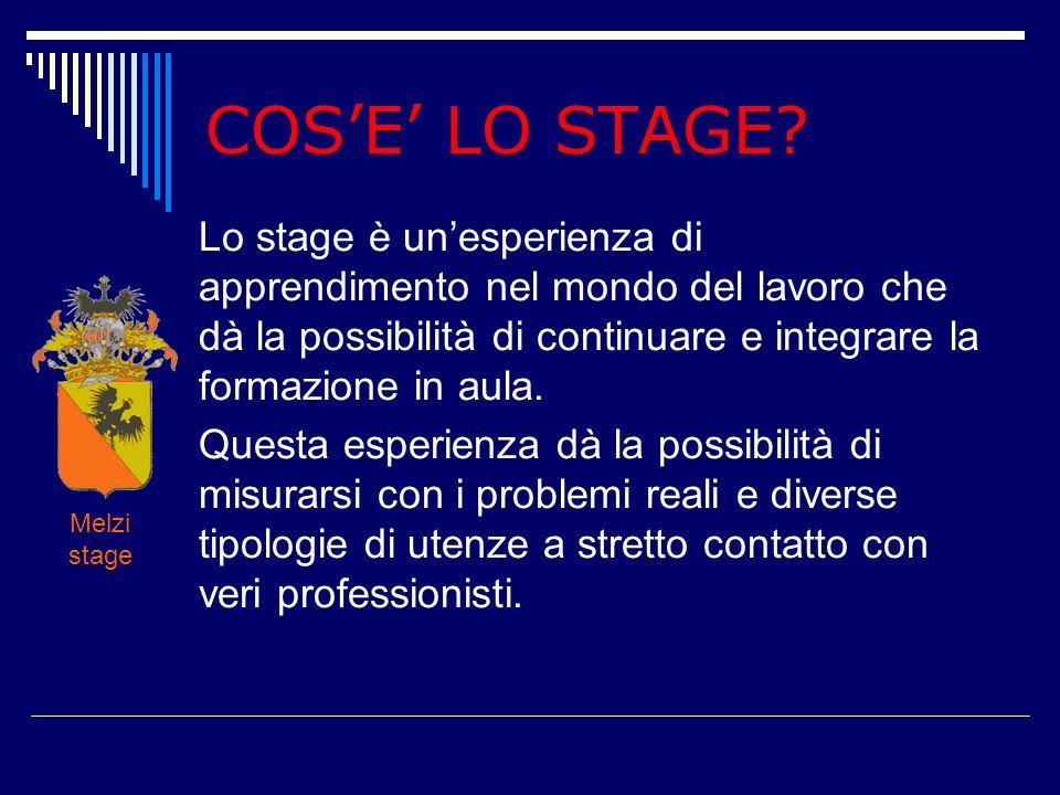COS'E' LO STAGE? Lo stage è un'esperienza di apprendimento nel mondo del lavoro che dà la possibilità di continuare e integrare la formazione in aula.