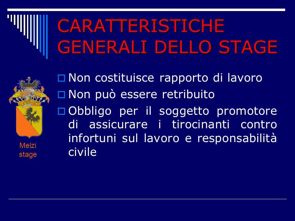 CARATTERISTICHE GENERALI DELLO STAGE  Non costituisce rapporto di lavoro  Non può essere retribuito  Obbligo per il soggetto promotore di assicurar