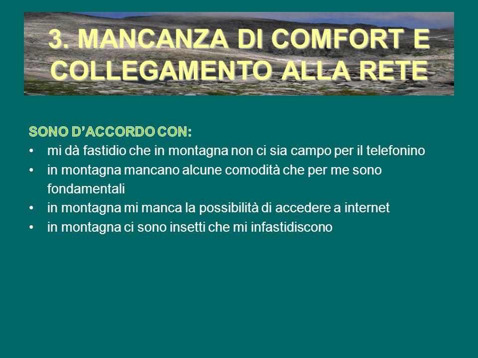 3. MANCANZA DI COMFORT E COLLEGAMENTO ALLA RETE
