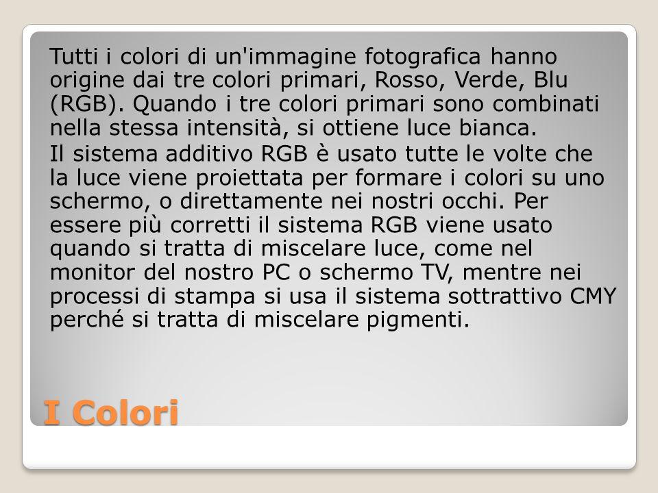 I Colori Tutti i colori di un'immagine fotografica hanno origine dai tre colori primari, Rosso, Verde, Blu (RGB). Quando i tre colori primari sono com