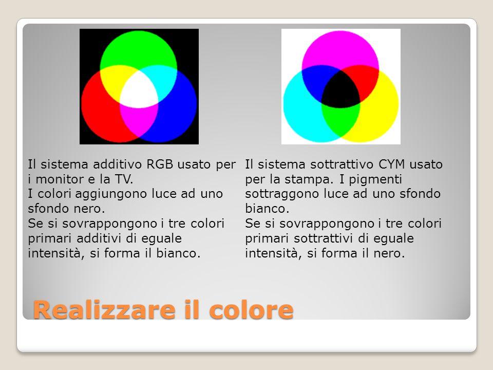 Realizzare il colore Il sistema additivo RGB usato per i monitor e la TV. I colori aggiungono luce ad uno sfondo nero. Se si sovrappongono i tre color