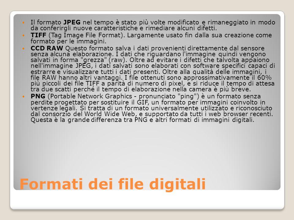 Formati dei file digitali Il formato JPEG nel tempo è stato più volte modificato e rimaneggiato in modo da conferirgli nuove caratteristiche e rimedia