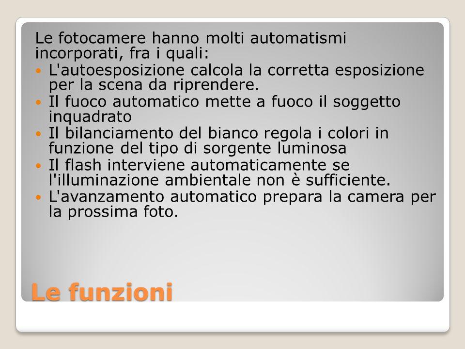 Le funzioni Le fotocamere hanno molti automatismi incorporati, fra i quali: L'autoesposizione calcola la corretta esposizione per la scena da riprende