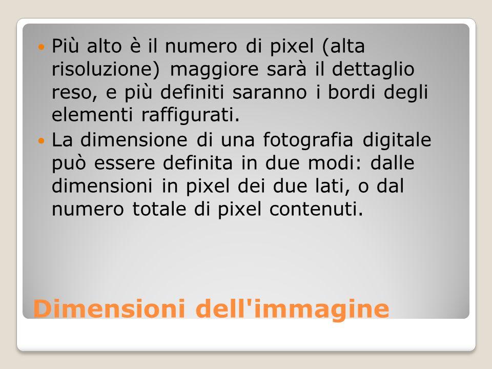 Dimensioni dell'immagine Più alto è il numero di pixel (alta risoluzione) maggiore sarà il dettaglio reso, e più definiti saranno i bordi degli elemen