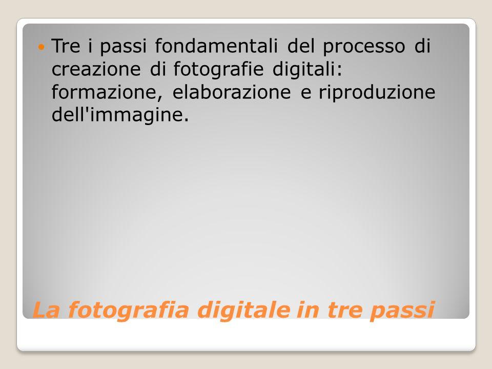 La fotografia digitale in tre passi Tre i passi fondamentali del processo di creazione di fotografie digitali: formazione, elaborazione e riproduzione